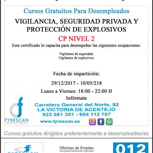 Curso Gratuito Para Desempleados – VIGILANCIA, SEGURIDAD PRIVADA Y PROTECCIÓN DE EXPLOSIVOS – Comienzo 29/12/2017 – INFÓRMATE