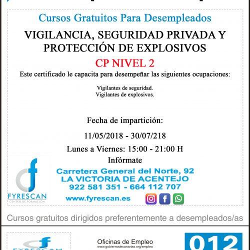 Curso Gratuito Para Desempleados – VIGILANCIA, SEGURIDAD PRIVADA Y PROTECCIÓN DE EXPLOSIVOS – Comienzo 11/05/2017 – INFÓRMATE