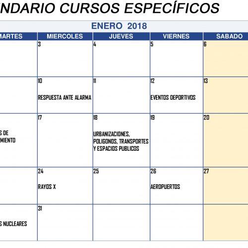 Calendario de Cursos específicos en ENERO 2018