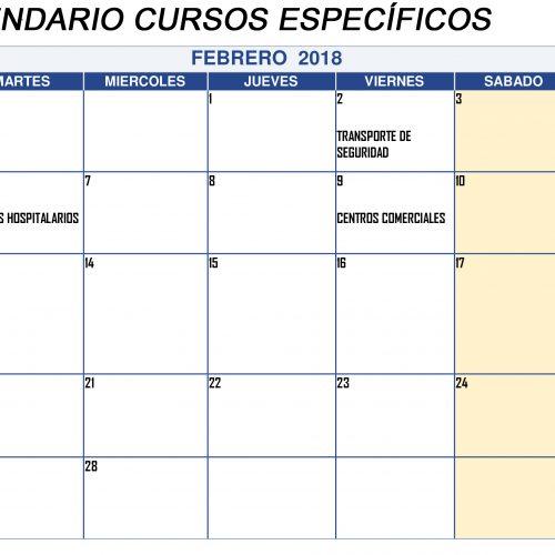 Calendario de Cursos específicos en FEBRERO 2018