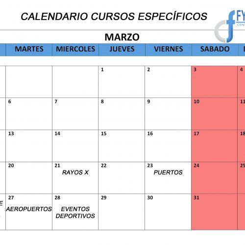 CALENDARIO DE LOS CURSOS ESPECÍFICOS DE MARZO
