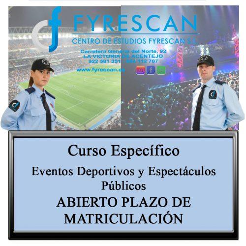 Curso Específico de Eventos Deportivos y Espectáculos Públicos Abierto plazo de matriculación