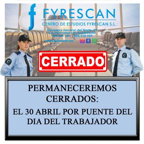 El día 30 de Abril Estaremos Cerrado por el puente del día del Trabajador 1 de Mayo