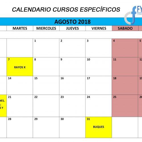 Calendario de los Cursos Específicos para Agosto de 2018