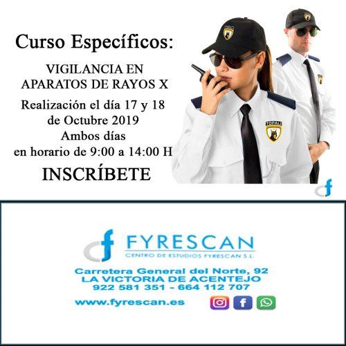 Cambio Horario Curso Específico de Rayos X – los días 17 y 18 de Octubre de 9:00 a 14:00H