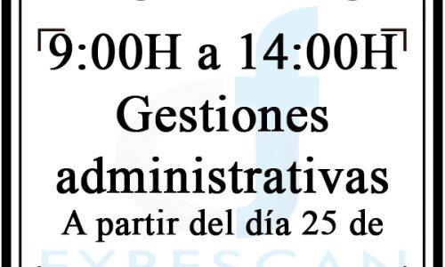 Horairo de 9:00H a 14:00H